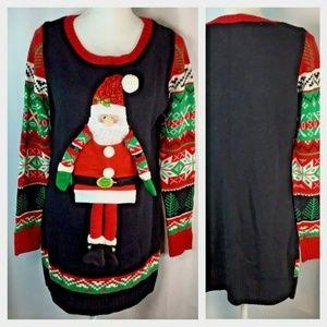 Ugly Christmas Sweater~Tunic~Dress~3D~Santa~Knit~